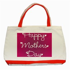 Valentine Happy Mothers Day Pink Heart Love Classic Tote Bag (red) by Mariart