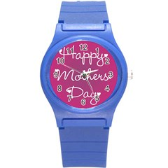 Valentine Happy Mothers Day Pink Heart Love Round Plastic Sport Watch (s) by Mariart