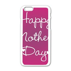 Valentine Happy Mothers Day Pink Heart Love Apple Iphone 6/6s White Enamel Case by Mariart