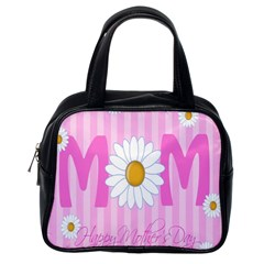 Valentine Happy Mothers Day Pink Heart Love Sunflower Flower Classic Handbags (one Side) by Mariart