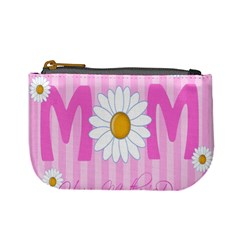 Valentine Happy Mothers Day Pink Heart Love Sunflower Flower Mini Coin Purses