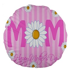 Valentine Happy Mothers Day Pink Heart Love Sunflower Flower Large 18  Premium Round Cushions by Mariart
