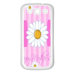 Valentine Happy Mothers Day Pink Heart Love Sunflower Flower Samsung Galaxy S3 Back Case (white) by Mariart
