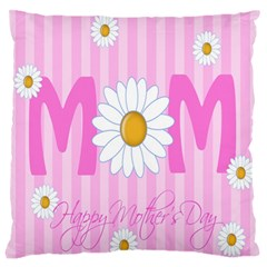 Valentine Happy Mothers Day Pink Heart Love Sunflower Flower Large Flano Cushion Case (one Side) by Mariart