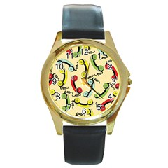 Telephone Cable Green Nyellow Red Blue Round Gold Metal Watch by Mariart