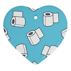 Roller Tissue White Blue Restroom Heart Ornament (two Sides) by Mariart