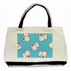 Roller Tissue White Blue Restroom Basic Tote Bag (two Sides) by Mariart
