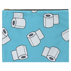 Roller Tissue White Blue Restroom Cosmetic Bag (xxxl)  by Mariart