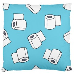 Roller Tissue White Blue Restroom Large Flano Cushion Case (one Side)