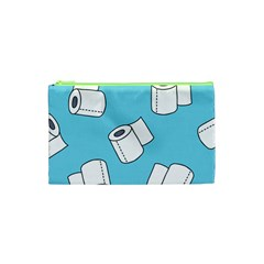 Roller Tissue White Blue Restroom Cosmetic Bag (xs) by Mariart