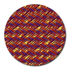 Linje Chevron Blue Yellow Brown Round Mousepads by Mariart