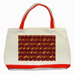 Linje Chevron Blue Yellow Brown Classic Tote Bag (red) by Mariart