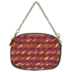 Linje Chevron Blue Yellow Brown Chain Purses (two Sides)