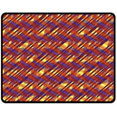 Linje Chevron Blue Yellow Brown Fleece Blanket (medium)  by Mariart