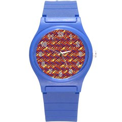 Linje Chevron Blue Yellow Brown Round Plastic Sport Watch (s) by Mariart