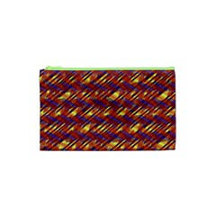 Linje Chevron Blue Yellow Brown Cosmetic Bag (xs) by Mariart