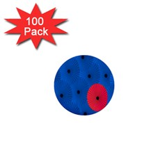 Pink Umbrella Red Blue 1  Mini Buttons (100 Pack)  by Mariart