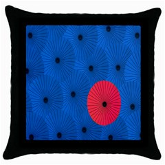 Pink Umbrella Red Blue Throw Pillow Case (black) by Mariart