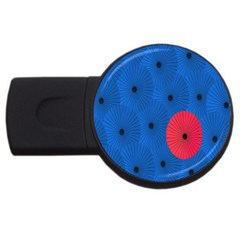 Pink Umbrella Red Blue Usb Flash Drive Round (2 Gb) by Mariart