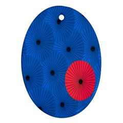Pink Umbrella Red Blue Oval Ornament (two Sides) by Mariart