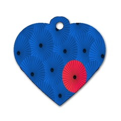 Pink Umbrella Red Blue Dog Tag Heart (two Sides) by Mariart