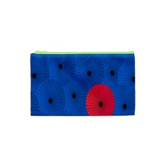 Pink Umbrella Red Blue Cosmetic Bag (xs) by Mariart