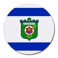 Flag Of Tel Aviv  Round Mousepads by abbeyz71