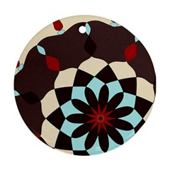 Red And Black Flower Pattern Round Ornament (two Sides) by digitaldivadesigns
