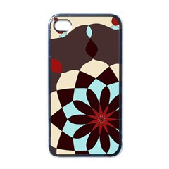 Red And Black Flower Pattern Apple Iphone 4 Case (black) by digitaldivadesigns