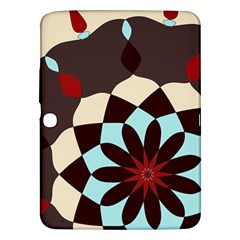 Red And Black Flower Pattern Samsung Galaxy Tab 3 (10 1 ) P5200 Hardshell Case  by digitaldivadesigns