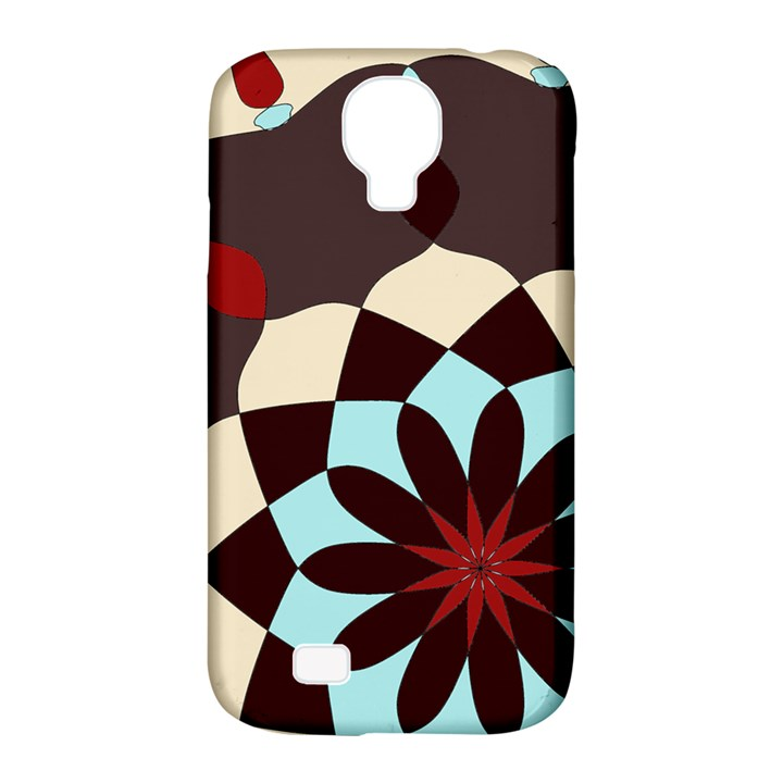 Red and Black Flower Pattern Samsung Galaxy S4 Classic Hardshell Case (PC+Silicone)