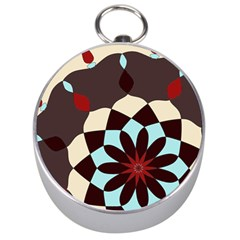Red And Black Flower Pattern Silver Compasses by digitaldivadesigns