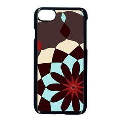 Red And Black Flower Pattern Apple Iphone 7 Seamless Case (black) by digitaldivadesigns