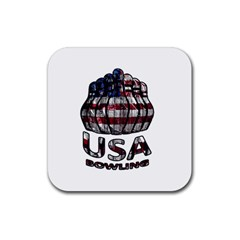 Usa Bowling  Rubber Coaster (square)  by Valentinaart