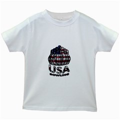 Usa Bowling  Kids White T Shirts by Valentinaart