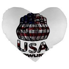 Usa Bowling  Large 19  Premium Heart Shape Cushions by Valentinaart