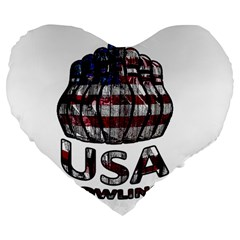 Usa Bowling  Large 19  Premium Flano Heart Shape Cushions by Valentinaart