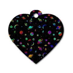 Space Pattern Dog Tag Heart (one Side) by Valentinaart