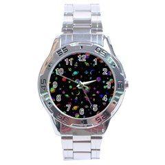 Space Pattern Stainless Steel Analogue Watch by Valentinaart