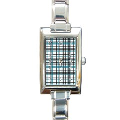 Plaid Pattern Rectangle Italian Charm Watch by Valentinaart