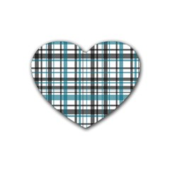 Plaid Pattern Rubber Coaster (heart)  by Valentinaart