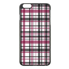 Plaid Pattern Apple Iphone 6 Plus/6s Plus Black Enamel Case