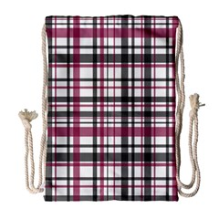 Plaid Pattern Drawstring Bag (large) by Valentinaart