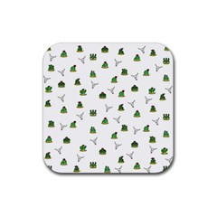 Cactus Pattern Rubber Coaster (square)  by Valentinaart