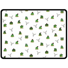 Cactus Pattern Fleece Blanket (large)  by Valentinaart