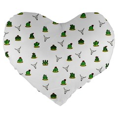 Cactus Pattern Large 19  Premium Heart Shape Cushions
