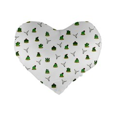 Cactus Pattern Standard 16  Premium Flano Heart Shape Cushions by Valentinaart