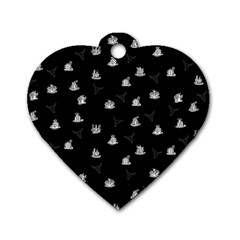 Cactus Pattern Dog Tag Heart (one Side) by Valentinaart