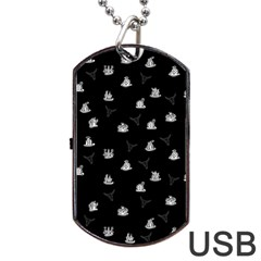 Cactus Pattern Dog Tag Usb Flash (two Sides) by Valentinaart