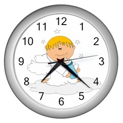 Angel Baby Bottle Cute Sweet Wall Clocks (silver)  by Nexatart